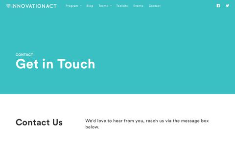 Screenshot of Contact Page innovationact.org - Contact / InnovationACT - captured June 7, 2017