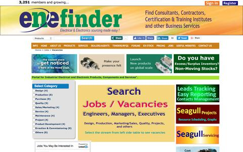 Screenshot of Jobs Page enefinder.com - Vacancies and jobs in electrical, electronic and automation industry - captured Nov. 1, 2017