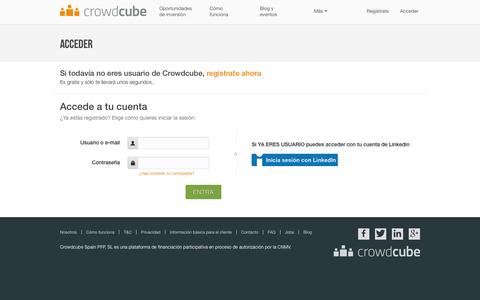 Screenshot of Login Page crowdcube.es - Login into your account - Crowdcube España | Financiación alternativa para inversores online - captured Jan. 20, 2016