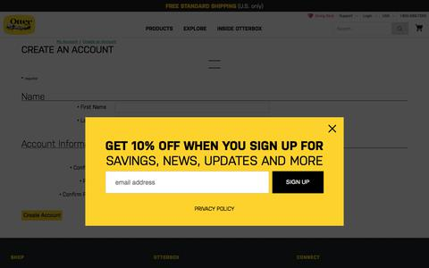 Screenshot of Signup Page otterbox.com - Account Registration | OtterBox - captured June 20, 2017