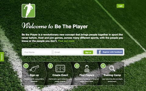 Screenshot of Home Page betheplayer.com - Be The Player - captured Sept. 30, 2014