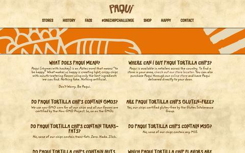 Screenshot of FAQ Page paqui.com - PAQUI - Flavored Tortilla Chips - Non-GMO Verified - captured Sept. 26, 2018