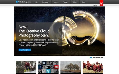 Screenshot of Home Page photoshop.com - Photoshop Inspiration, Photoshop Information | Photoshop.com - captured Sept. 18, 2014