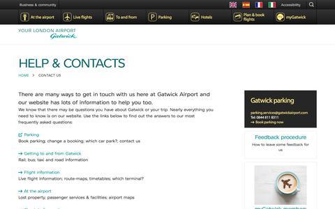 Screenshot of Contact Page gatwickairport.com - Contact us | Gatwick Airport - captured Oct. 8, 2017