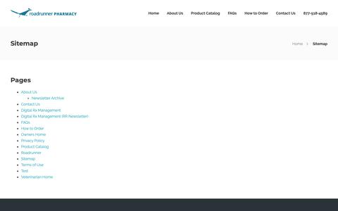 Screenshot of Site Map Page roadrunnerpharmacy.com - Sitemap - RoadRunner Pharmacy - captured April 16, 2019