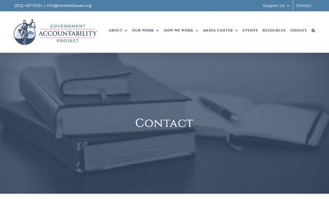 Screenshot of Contact Page whistleblower.org - Contact - Government Accountability Project - captured Sept. 5, 2019