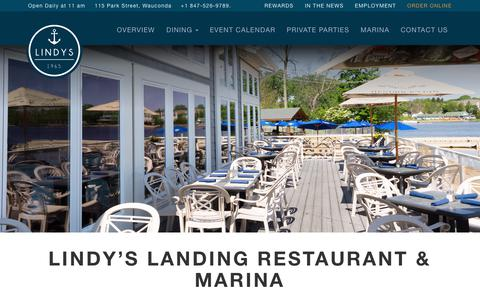 Screenshot of Home Page lindyslanding.com - Lindy's Landing Restaurant, Bar, & Marina | Wauconda, IL - captured July 20, 2018