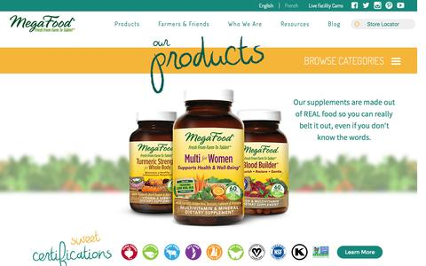 Screenshot of Products Page megafood.com - Products | MegaFood - captured June 4, 2016