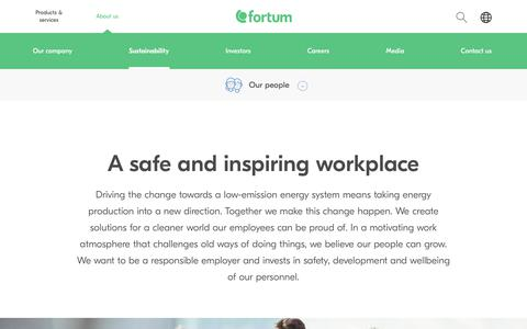 Screenshot of Team Page fortum.com - A safe and inspiring workplace | Fortum - captured Dec. 25, 2017