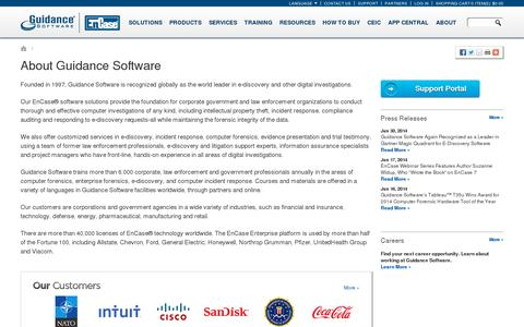 Screenshot of About Page guidancesoftware.com - About Guidance Software - captured July 18, 2014