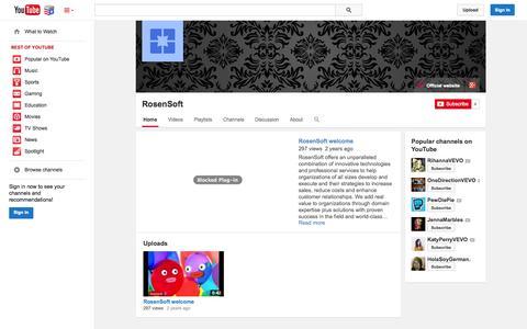 Screenshot of YouTube Page youtube.com - RosenSoft  - YouTube - captured Nov. 5, 2014
