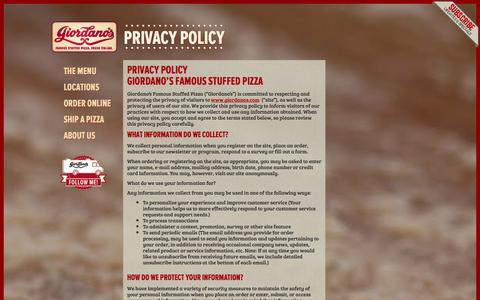 Screenshot of Privacy Page giordanos.com - Privacy Policy - Giordano's Famous Chicago Pizza - captured Sept. 23, 2014