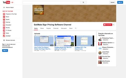 Screenshot of YouTube Page youtube.com - EstiMate Sign Pricing Software Channel  - YouTube - captured Oct. 22, 2014