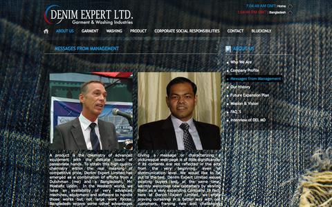 Screenshot of Team Page denimexpert.com - Message from Chairman :: Denim Expert :: - captured Sept. 30, 2014