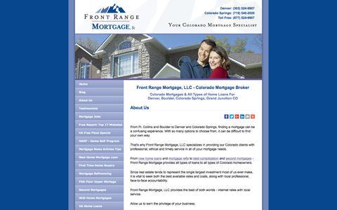 Screenshot of About Page frontrangemortgage.com - Colorado Mortgage Broker - Front Range Mortgage - Denver & Colorado Springs - captured Oct. 14, 2017