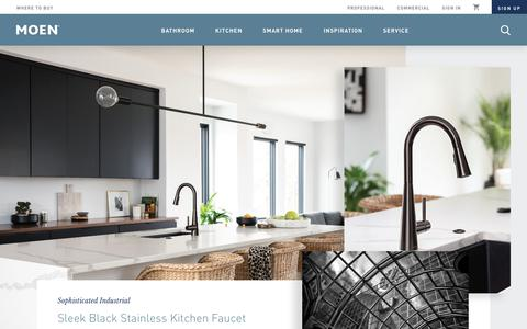 Screenshot of Home Page moen.com - Moen | Bathroom & Kitchen Faucets, Shower Heads, Accessories & More - captured Aug. 18, 2019