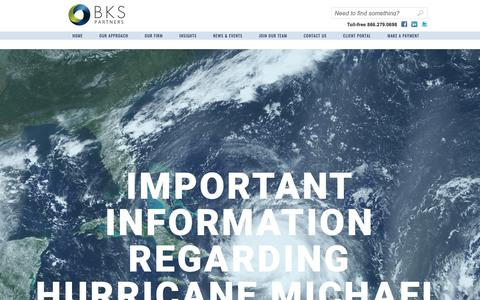 Screenshot of Home Page bks-partners.com - Hurricane Information - BKS-Partners - captured Oct. 11, 2018
