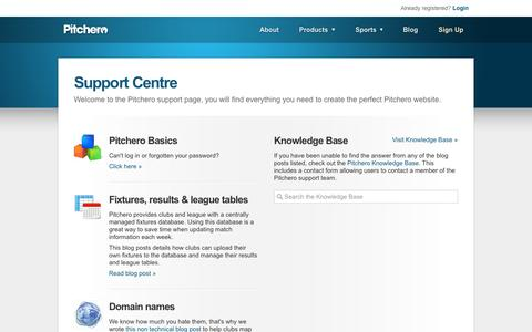 Screenshot of Support Page pitchero.com - Pitchero Support Centre - captured Oct. 10, 2014