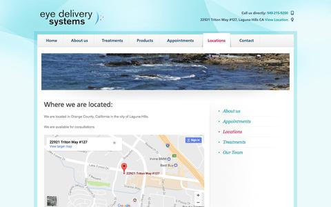Screenshot of Locations Page eyedeliverysystems.com - Locations   Seeing the world better for tomorrow - captured May 24, 2017