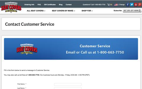 Screenshot of Support Page shearcomfort.com - Contact Customer Service: ShearComfort Seat Covers - captured Oct. 28, 2017