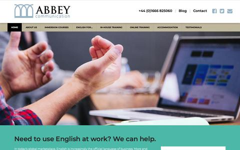 Screenshot of Home Page abbeycommunication.com - Improve your Business English with Abbey Communication - captured Oct. 2, 2018