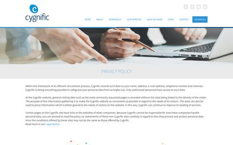 Screenshot of Privacy Page cygnific.com - Cygnific - Privacy Policy - captured May 22, 2017