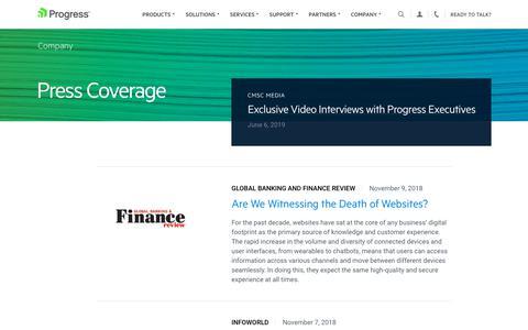 Screenshot of Press Page progress.com - Press Coverage - Page 4 - captured July 17, 2019