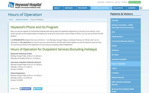 Screenshot of Hours Page heywood.org - Hours of Operation - captured Sept. 28, 2018