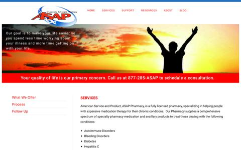 Screenshot of Services Page wecareasap.com - Services – ASAP Pharmacy – A Specialty Advocate Pharmacy - captured Oct. 3, 2018