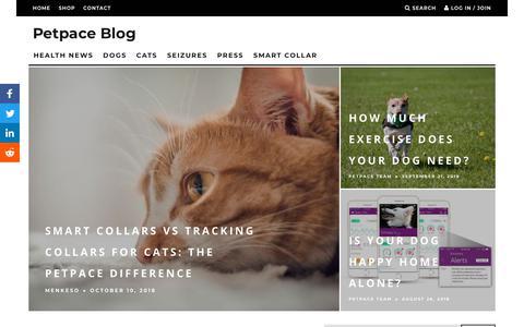Screenshot of Blog petpace.com - Pet Blog for Your Dog or Cat - Petpace Blog - captured Oct. 19, 2018