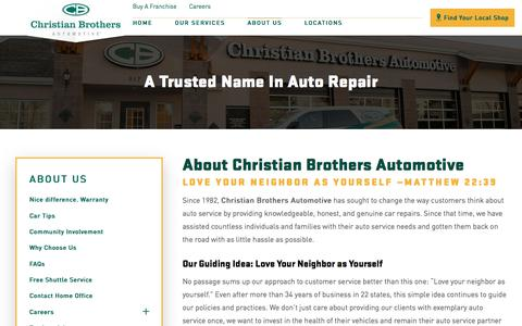 Screenshot of About Page cbac.com - About Us | Christian Brothers Automotive - captured Oct. 25, 2017