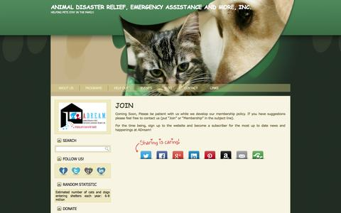 Screenshot of Signup Page adreamcharity.org - Join | Animal Disaster Relief, Emergency Assistance and More, Inc. - captured Sept. 29, 2014