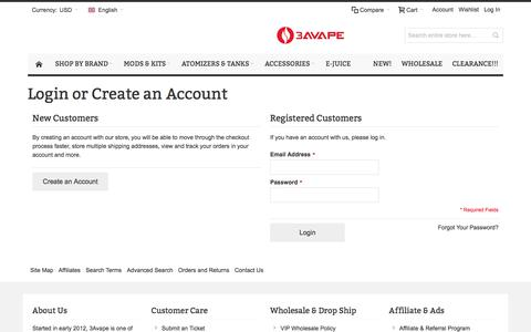 Screenshot of Login Page 3avape.com - √ Customer Login - captured Dec. 26, 2016