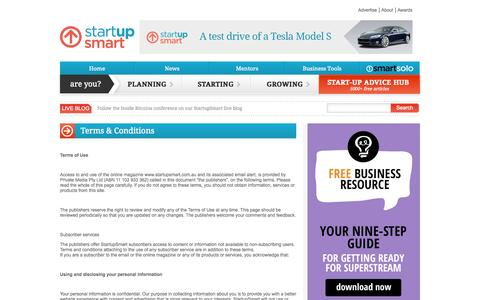 Screenshot of Terms Page startupsmart.com.au - Terms & Conditions - captured Sept. 18, 2014