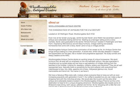Screenshot of About Page woolloongabbaantiquecentre.com - About Us - Woollongabba Antique Centre, Brisbane, Australia - captured June 16, 2016