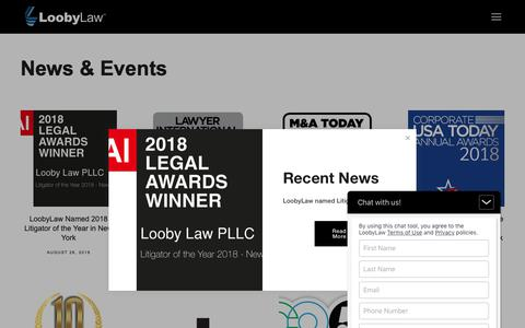 Screenshot of Press Page loobylaw.com - News — Looby Law, PLLC - captured Sept. 27, 2018