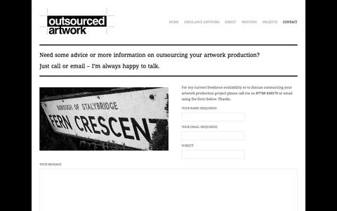 Screenshot of Contact Page outsourcedartwork.co.uk - Contact Outsourced Artwork | Freelance Artworker Manchester | Outsource Artwork Production Resource - captured Oct. 7, 2014