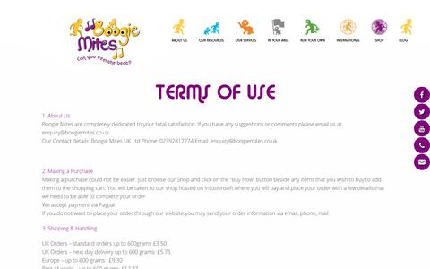 Screenshot of Terms Page boogiemites.co.uk - Terms of Use | Boogie Mites - captured Aug. 3, 2018
