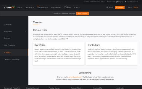 Screenshot of Jobs Page yupptv.com - Careers - captured Dec. 10, 2018