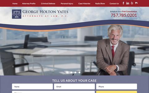 Screenshot of Home Page ghylaw.com - Virginia Beach Attorney | George Holton Yates - captured Jan. 27, 2016