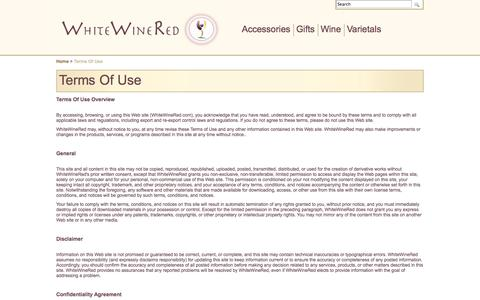Screenshot of Terms Page whitewinered.com - Terms Of Use | Terms Of Use at  WhiteWineRed.com - captured Oct. 9, 2014
