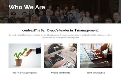 Screenshot of About Page centrexit.com - Who We Are - San Diego's Leader in IT Management and IT Consulting - centrexIT - captured Oct. 4, 2016
