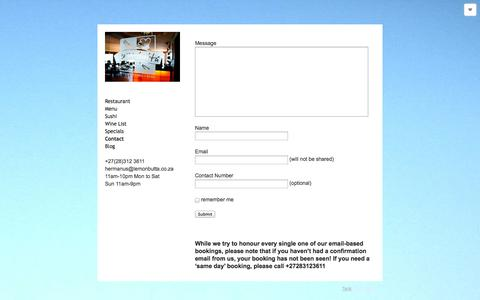 Screenshot of Contact Page lemonbutta.co.za - Contact details and opening times - captured Oct. 2, 2014