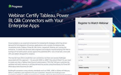 Screenshot of Landing Page progress.com - Webinar | Certify Tableau, Power BI, Qlik Connectors with Your Cloud App - captured July 17, 2019