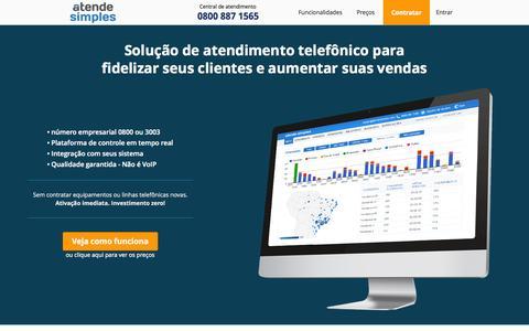 Screenshot of Home Page atendesimples.com - Solução de atendimento telefônico com 0800 ou 3003 - captured Aug. 2, 2015