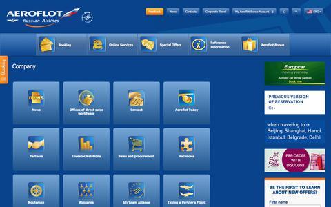 Screenshot of About Page aeroflot.ru - Company | Aeroflot - captured June 20, 2017