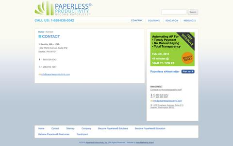 Screenshot of Contact Page paperlessproductivity.com - Contact - Paperless Productivity - captured Jan. 25, 2016