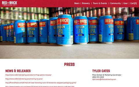 Screenshot of Press Page redbrickbrewing.com - Red Brick Brewing - captured Feb. 6, 2016