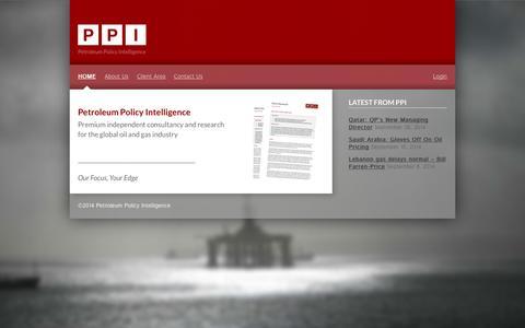 Screenshot of Home Page ppintel.com - PPI - captured Oct. 2, 2014