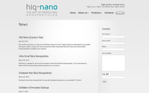 Screenshot of Press Page hiqnano.com - Product development through continuous improvement | Hiq-nano - Part 1 - captured Sept. 30, 2014